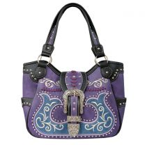 GP980W191 CONCEALED CARRY WESTERN BUCKLE EMBROIDERY TOTE SHOULDER BAG PURPLE
