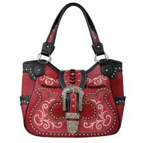 GP980W191 CONCEALED CARRY WESTERN BUCKLE EMBROIDERY TOTE SHOULDER BAG WINE