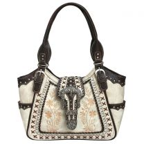 GP988W112 Concealed Carry Western Buckle Embroidery Tote Shoulder Bag Beige