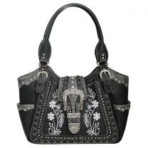 GP988W112 Concealed Carry Western Buckle Embroidery Tote Shoulder Bag Black