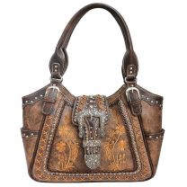 GP988W112 Concealed Carry Western Buckle Embroidery Tote Shoulder Bag Brown