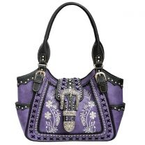GP988W112 Concealed Carry Western Buckle Embroidery Tote Shoulder Bag Purple