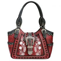 GP988W112 Concealed Carry Western Buckle Embroidery Tote Shoulder Bag Red