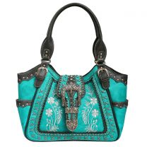GP988W112 Concealed Carry Western Buckle Embroidery Tote Shoulder Bag Turquoise