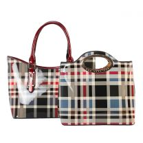 GZ6928 FASHION 2-in-1 CHECKERED PLAID TOTE SET~RED