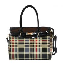 GZ8404W FASHION 2-in-1 CHECKERED PLAID SATCHEL w/MATCHING WALLET SET~BLACK