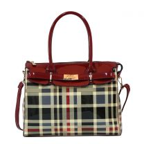 GZ8404W FASHION 2-in-1 CHECKERED PLAID SATCHEL w/MATCHING WALLET SET~RED