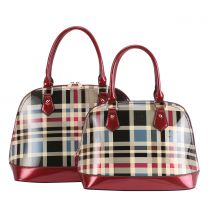 GZT2020 FASHION 2-in-1 CHECKERED PLAID DOME SATCHEL SET~RED
