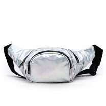 HAR200 HOLOGRAM FANNY PACK WAIST BAG WITH RAINBOW ZIPPER SILVER