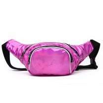 HAR200 HOLOGRAM FANNY PACK WAIST BAG WITH RAINBOW ZIPPER FUCHSIA