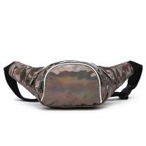 HAR200 HOLOGRAM FANNY PACK WAIST BAG WITH RAINBOW ZIPPER PEWTER