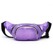 HAR200 HOLOGRAM FANNY PACK WAIST BAG WITH RAINBOW ZIPPER PURPLE
