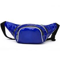 HAR200 HOLOGRAM FANNY PACK WAIST BAG WITH RAINBOW ZIPPER ROYAL BLUE