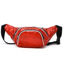 HAR200 HOLOGRAM FANNY PACK WAIST BAG WITH RAINBOW ZIPPER RED