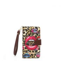 HP6617 NICOLE LEE UNIVERSAL FIT PRINTED CELLPHONE CASE WRISTLET~WILD LIPS