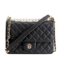 HY8589 QUILTED CROSSBODY BAG~BLACK