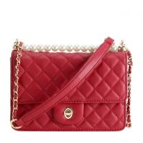 HY8589 QUILTED CROSSBODY BAG~RED