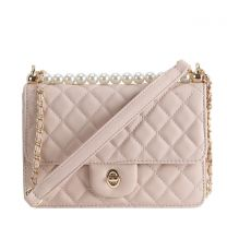 HY8589 QUILTED CROSSBODY BAG~TAUPE