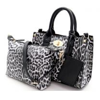 LE061 LEOPARD PRINT 3-in-1 BOXY SATCHEL BLACK