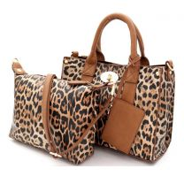 LE061 LEOPARD PRINT 3-in-1 BOXY SATCHEL TAN
