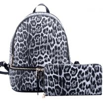 LE1062W LEOPARD TEXTURED BACKPACK w/MATCHING WALLET~BLACK