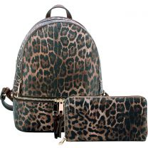 LE1062W LEOPARD TEXTURED BACKPACK w/MATCHING WALLET~BROWN