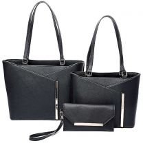 LF2112-T3 3-IN-1 MODERN STYLISH TOTE AND CLUTCH SET~BLACK