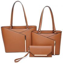 LF2112-T3 3-IN-1 MODERN STYLISH TOTE AND CLUTCH SET~BROWN