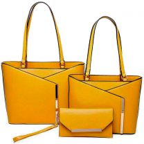 LF2112-T3 3-IN-1 MODERN STYLISH TOTE AND CLUTCH SET~MUSTARD