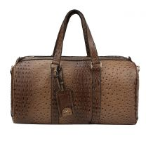 LF128 2-in-1 OSTRICH CROC OVER SIZE TRAVEL DUFFEL BAG~TAUPE
