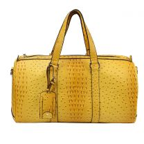 LF128 2-in-1 OSTRICH CROC OVER SIZE TRAVEL DUFFEL BAG~YELLOW
