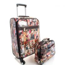 LGPQ01 THE OBAMAS DéCOR MAGAZINE COVER COLLAGE TRAVEL LUGGAGE 2-IN1 SET~MULTI