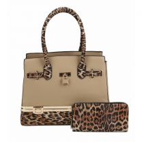 LH049-1W LEOPARD COLORBLOCK 2in1 SATCHEL~TAUPE