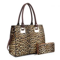 LM19627 LEOPARD PRINT 2-in-1 BOXY SATCHEL~LEO/COFFEE