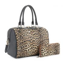 LM19785 LEOPARD PRINT 2-in-1 BOSTON BAG~LEO/BLACK