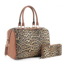 LM19785 LEOPARD PRINT 2-in-1 BOSTON BAG~LEO/BROWN