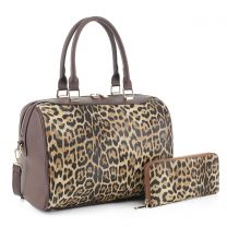 LM19785 LEOPARD PRINT 2-in-1 BOSTON BAG~LEO/COFFEE