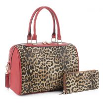 LM19785 LEOPARD PRINT 2-in-1 BOSTON BAG~LEO/RED