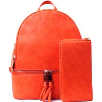 LP1062W 2-in-1 MULTI COMPARTMENT BACKPACK SET w/WALLET~CORAL ROSE