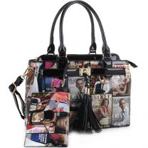 MB5014S THE OBAMAS DéCOR MAGAZINE COVER COLLAGE TASSEL ACCENT 2-IN-1 SATCHEL~BLACK