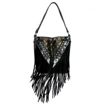 MW901-8275 MONTANA WEST SIGNATURE MONOGRAM FRINGE COLLECTION HOBO BAG BLACK