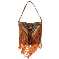 MW901-8275 MONTANA WEST SIGNATURE MONOGRAM FRINGE COLLECTION HOBO BAG BROWN