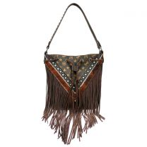 MW901-8275 MONTANA WEST SIGNATURE MONOGRAM FRINGE COLLECTION HOBO BAG COFFEE