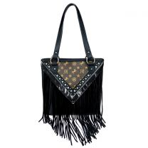 MW901P-8317 MONTANA WEST SIGNATURE MONOGRAM FRINGE COLLECTION TOTE BLACK