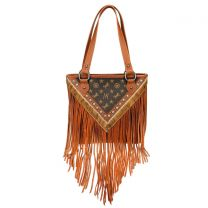 MW901P-8317 MONTANA WEST SIGNATURE MONOGRAM FRINGE COLLECTION TOTE BROWN