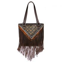MW901P-8317 MONTANA WEST SIGNATURE MONOGRAM FRINGE COLLECTION TOTE COFFEE