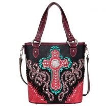 MW995G-8461 MONTANA WEST SPIRITUAL COLLECTION CONCEALED CARRY TOTE/CROSSBODY~BLACK