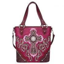 MW995G-8461 MONTANA WEST SPIRITUAL COLLECTION CONCEALED CARRY TOTE/CROSSBODY~PURPLE