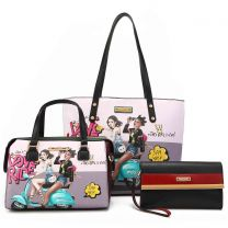 NK12102 NIKKY LOVE RIDE SHOPPER BAG 3PC SET