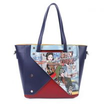 NYD15080 NICOLE LEE COLOR BLOCK NEW YORK SHOPPER BAG